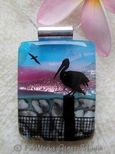 Fused glass scenic pelican pendant