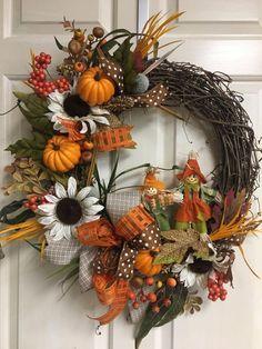 Diy Fall Wreath, Autumn Wreaths, Wreath Crafts, Holiday Wreaths, Wreath Ideas, Spring Wreaths, Country Wreaths, Country Fall Decor, Memorial Day Wreaths