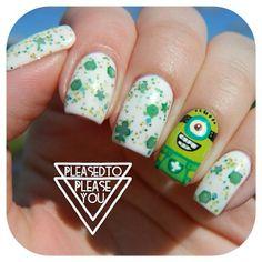 pleasedtopleaseyou St. patrick's day minion #nail #nails #nailart