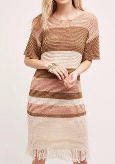 Anthropologie Fringed Sandstripe Dress by Isy & Ki $148 Sz L - NWT…