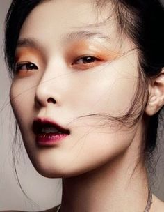 gleamy copper eyes (all around) and stained wine lips on a clean base without that much blush/shader SUNG HEE KIM
