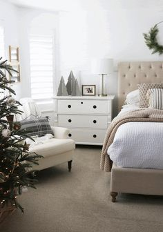 COUNTRY GIRL HOME : Christmas Home Tour 2020 Christmas Bedroom, Christmas Home, Bedroom Inspo, Bedroom Decor, Country Girl Home, Laying In Bed, Framed Tv, Hand Painted Ornaments, Wood Tree