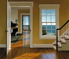 The Music Room by Edward Gordon - Ocean shoreline seen across a sunlit hardwood floor with piano, Vermeer painting and open French doors