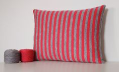 Soft Scottish Lambswool Grey and Dark Pink Stripe by HollyandEvie, £28.00