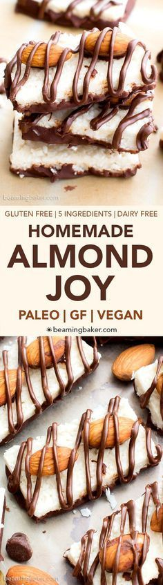 Paleo Almond Joy (vegan, gluten free, dairy free): a 5 ingredient recipe for deliciously satisfying homemade Almond Joy candy bars bursting with coconut and chocolate. Paleo Dessert, Gluten Free Desserts, Vegan Desserts, Healthy Desserts, Vegan Gluten Free, Dessert Recipes, Paleo Vegan, Paleo Bars, Dairy Free Foods