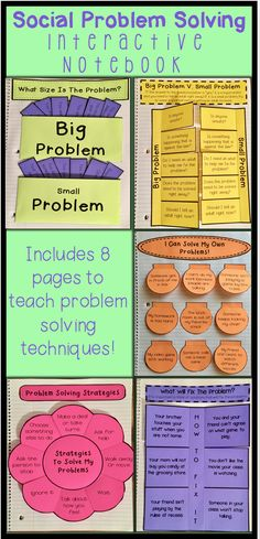 Social Problem Solving Interactive Notebook- Includes 8 pages to help students learn problem solving strategies. https://www.teacherspayteachers.com/Product/Social-Problem-Solving-Interactive-Notebook-2928046