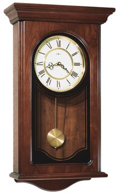 Howard Miller Orland Grandfather Clock Style Chiming Wall Clock with Pendulum, Vintage, Old World, Classic Design (Cherry Finish), Brown(Glass) Wall Clock Analog, Pendulum Wall Clock, Mantel Clocks, Wood Clocks, Antique Clocks, Vintage Clocks, Fireplace Mantel, Chiming Wall Clocks, Howard Miller Wall Clock