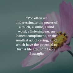 """""""Too often we underestimate the power of a touch, a smile, a kind word, a listening ear, an honest compliment, or the smallest act of caring, all of which have the potential to turn a life around."""" Leo F. Buscaglia"""