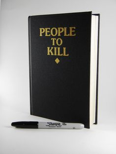 haha - my fave part of billy madison is steve buscemi's people to kill list - These People To Kill sketchbooks are gold foil embossed on high quality cloth covered casebound sketchbooks. 100 pages of high quality 140gsm acid free unlined pages. Won't bleed through with watercolor, permanent marker, or even blood. These are A5 size (8.3 x 5.8).