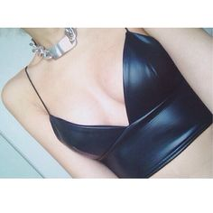 Leather cop top, bustier bra #grunge