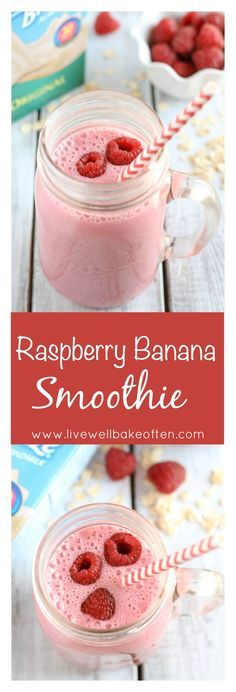 An easy and delicious smoothie filled with fresh fruit almond milk Greek yogurt and other good for you ingredients This Raspberry Banana Smoothie makes a perfect healthy breakfast or snack ad breakfastsmoothie Raspberry Banana Smoothie, Smoothie Recipes With Yogurt, Smoothies With Almond Milk, Breakfast Smoothie Recipes, Yogurt Smoothies, Fruit Smoothie Recipes, Apple Smoothies, Healthy Breakfast Smoothies, Yummy Smoothies