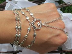 Bridal Slave Bracelet, Ring Bracelet, Hand Jewelry, Wedding, Love Bracelet, Heart Jewelry, Hippie, Bracelet, Heart, Silver, Custom Sized via Etsy