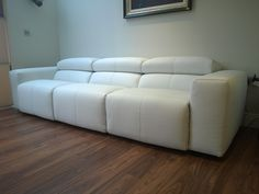 Binari Electric Recliner Sofa In White Leather Elegant And Comfortable 3 Seater 78cm With