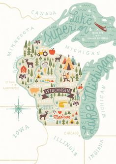 map of wisconsin illustration by michael mullan Maps Design, Graphic Design, Design Design, Travel Maps, Travel Posters, Minnesota, Illinois, Michigan, Wisconsin Dells