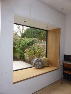 Diy Furniture Table, Diy Furniture Plans, Bedroom Furniture, Furniture Layout, Furniture Sets, Bedroom Windows, Bay Windows, Window Curtains, Bay Window Bedroom
