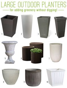 Large scale planters to add a lot sculpture and easy greenery (without digging!)