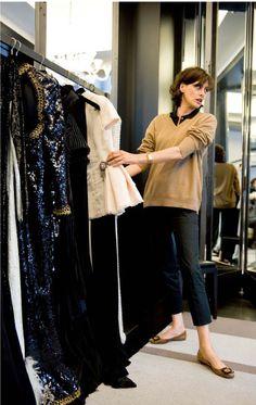inès de la fressange. She makes even skinny pants and a simple sweater look elegant