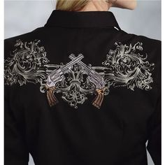 Roper Old West Embroidered Guns Shirt - Snap Front, Long Sleeve (For Women)