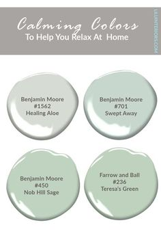 7 calming color palettes for cultivating your safe haven. Curated by top interior designers. CLICK TO READ MORE! #color #colorpalette #soothingcolors #paintcolors #calmcolors #colorpsychology #purple #lightblue #sagegreen #teal #blushpink #deepgray #lightyellow Best Gray Paint Color, Modern Paint Colors, Teresas Green, Farm House Colors, Soothing Colors, Color Psychology, Top Interior Designers, Warm Grey, White Paints