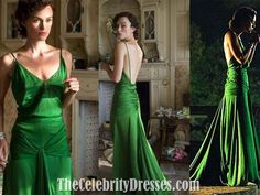 Keira Knightley Green Vintage Evening Dress in Movie Atonement Celebrity Dress