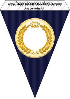 Bandeirinha Varalzinho Coroa Príncipe Azul Marinho