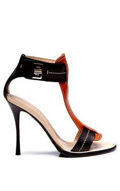 Black And Curry Calf T Strap Twist Lock Sandal by NICHOLAS KIRKWOOD