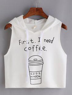 #AdoreWe #ROMWE Vest&Basics - Designer ROMWE Coffee Print Hooded Crop Tank Top - White - AdoreWe.com