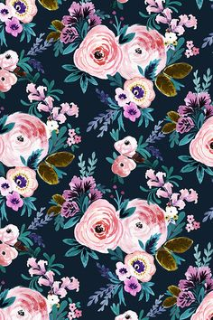 Victoria Floral Moody by crystal_walen - Hand painted florals in pink and mauve on a deep navy background.  Victorian romance style floral pattern on fabric, wallpaper, and gift wrap.  #floral #wallpaper #flowers #diy #makeit #design #surfacedesign #designer #style
