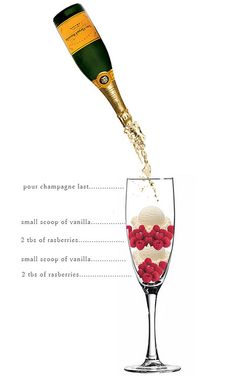 Rasberry Ice Cream Champagne drink alcohol diy ingredients drink recipes diy party favors diy party ideas diy drink Hill this looks yummy we would try this instead of mimosas Champagne Drinks, Champagne Bottles, Cocktail Drinks, Cocktail Recipes, Drink Recipes, Champagne Recipe, Cocktail List, Bar Recipes, Champagne Glasses