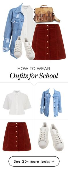 """""""School Uniform"""" by avamancuso on Polyvore featuring T By Alexander Wang, adidas and Raagaz"""