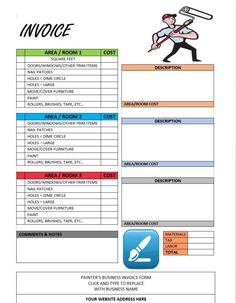 Painting invoices painter invoice template pinterest template free painting invoice template maxwellsz