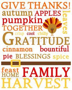 8x10 Thanksgiving Subway Art