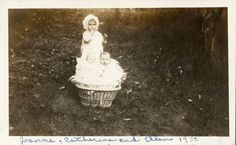 vintage photo Jaonne Catherine Baby Ellen in a basket 1930