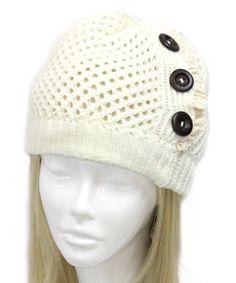 Look what I found on #zulily! White Crochet Beanie #zulilyfinds