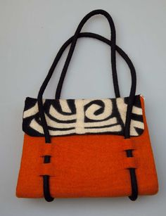 """handmade felt bag This bag makes me want to go digging around for those size 13 needles and brown sheep yarn """"Orange you glad"""", black and ecru ..... fabulous, just fabulous!"""