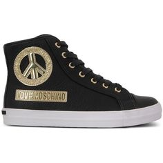 Love Moschino Sneakers (145 AUD) ❤ liked on Polyvore featuring shoes, sneakers, black, black trainers, rubber sole shoes, genuine leather shoes, black leather shoes and love moschino shoes