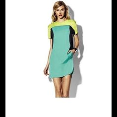 Gorgeous Multi color shift dress. Never worn, satin material, color block. Vince Camuto Dresses