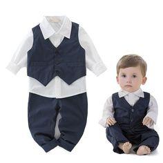 Baby boys Blue Tuxedo Set 3pcs Vest White shirt Pants