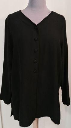 EILEEN FISHER Size small Collarless silk Shirt jacket #EILEENFISHER #ButtonDownShirt