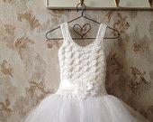 White Flower girl tutu dress, toddler flower girl dress, white tutu dress, crochet tutu dress, toddler tutu dress, baby tutu dress