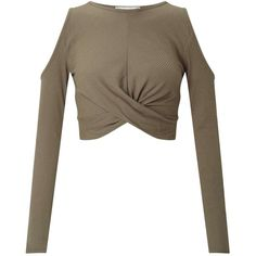 Miss Selfridge Khaki Twist Cold Shoulder Crop Top ($40) ❤ liked on Polyvore featuring tops, khaki, white open shoulder top, open shoulder top, long sleeve tops, white tops and white crop tops