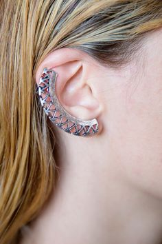 AZTEC EAR CUFF R 145.00 - Stud & clip on style design - Aztec detail - Bronze and silver tone finish