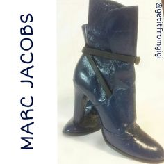 MARC JACOBS Mid-Calf Booties ***PLEASE READ DETAILS*** These are a spectacular pair of Marc Jacobs boots! AUTHENTIC!  Genuine leather.They do have minimal wear on bottom front (pictured). Left boot is a size 6.5 and right is size 7 as one foot is slightly bigger than the other. (Please take this into consideration if you plan on purchasing). They fit me perfectly, but I just never went anywhere to wear them. I will consider reasonable offers!! Marc Jacobs Shoes Ankle Boots & Booties