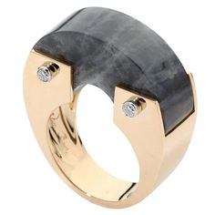 Labradorite Bridge Rock Diamond Gold Wide Band Ring | From a unique collection of vintage fashion-rings at https://www.1stdibs.com/jewelry/rings/fashion-rings/
