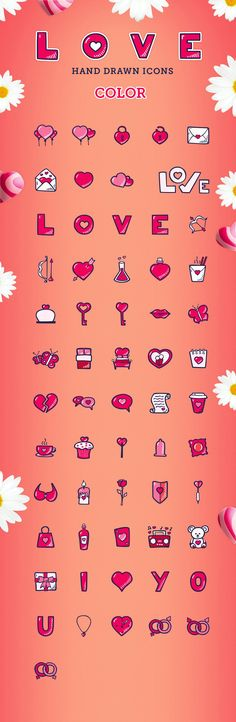 Sweet hand-drawn icon pack, perfect for Valentine's Day! Make your lovely designs irresistible this year! Love hand drawn icon set contains: - 60 hand drawn All Icon, Icon Set, Best Icons, Icon Pack, One Color, Cool Designs, How To Draw Hands, Make It Yourself, Hand Drawn