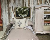 French Country Doll Bed and Bedding-Dollhouse miniature 1:12 scale