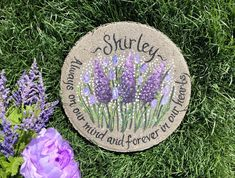 Teacher Retirement Gifts, Retirement Gifts For Women, Painted Stepping Stones, Painted Rocks, Memorial Garden Stones, In Memory Of Dad, Purple Lilac, Sympathy Gifts, Beach Gifts