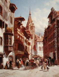 Figures on the Street in Zug, Switzerland, 1880 reproduction by Jacques Carabain Web Gallery, Virtual Museum, Family Roots, Great Paintings, Old City, Barcelona Cathedral, Switzerland, Street, Joseph