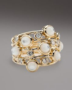 Diamond  Mother-of-Pearl Ring by Ippolita at Neiman Marcus.