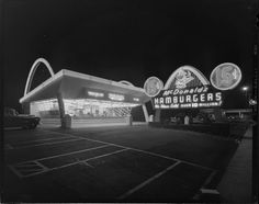 """yesterdaysprint: """"McDonald's, Downey, California, September 1954 """" Vintage California, Southern California, Los Angeles City College, Downey California, San Fernando Valley, City Of Angels, Roadside Attractions, Los Angeles County, Old Photos"""